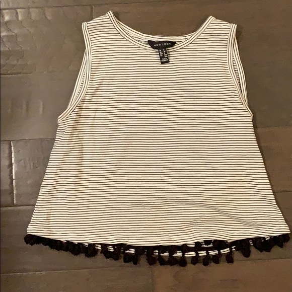 New Look Tops - Cropped striped tank with tassels